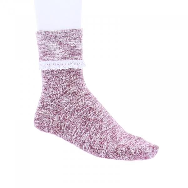 Birkenstock Damen Socken - Slub Lace - Tawny Port - Baumwolle