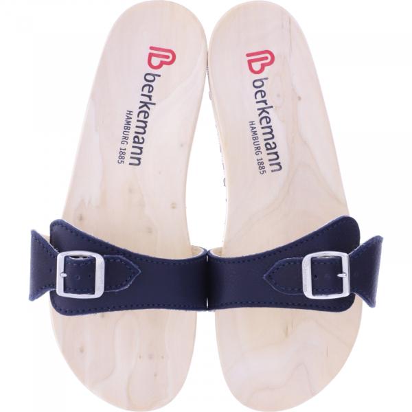 Berkemann / Original-Sandale / B100 / Ecouro Tiefseeblau Nappa Leder / Art: 00106-554 / Holzsandalen