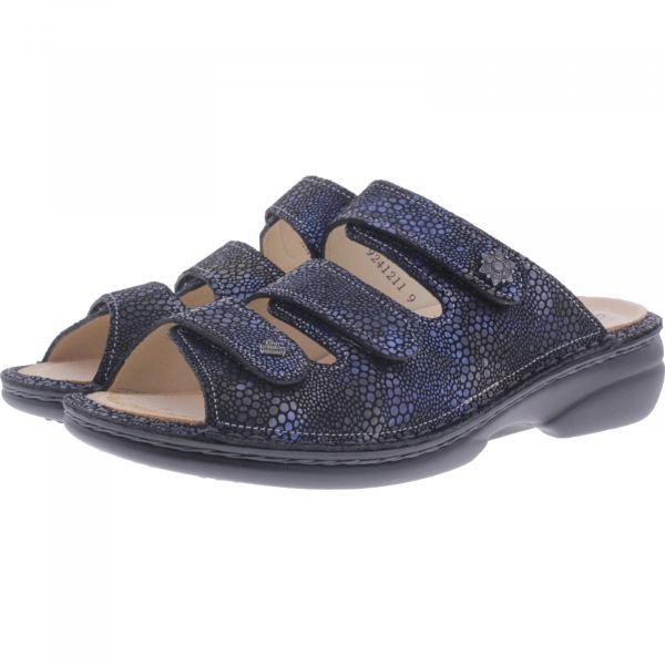 Finn Comfort / Menorca-Soft / Azur Blau / Wechselfußbett / Art: 82564-653372 / Damen Pantoletten