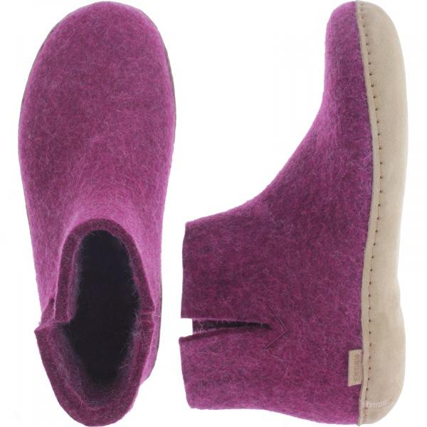 "Glerups / Modell: ""G"" / Cranberry Wollfilz / Kalbsleder-Sohle / Geschlossene Schuhe"