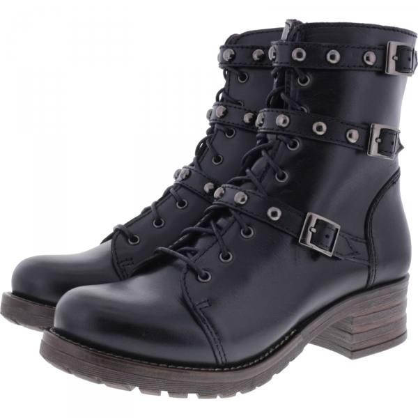 Brako / Modell: Military Pull / Negro Schwarz Leder / Stiefel / Art: 8463 / Damen Stiefeletten