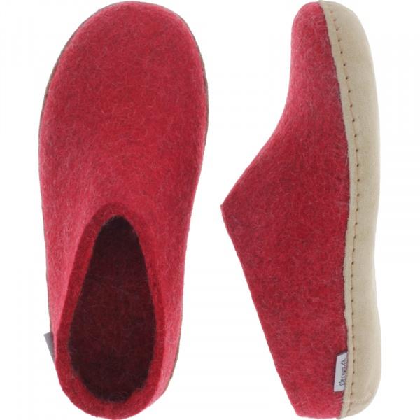 """Glerups / Modell: """"B"""" / Red-Rot Wollfilz / Kalbsleder-Sohle / Offene Pantoffeln"""