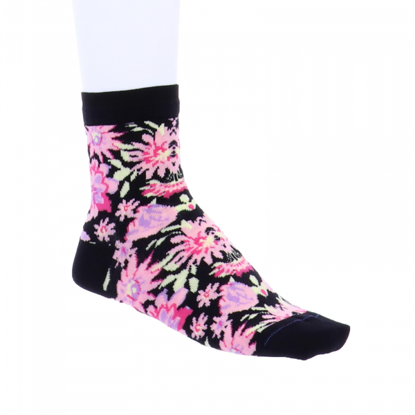 Birkenstock Damen Socken - Cotton Flowers - Black-Rose