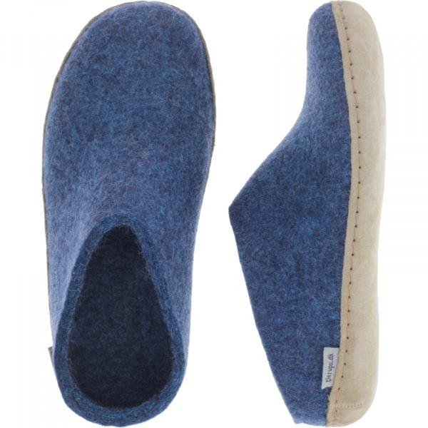 "Glerups / Modell: ""B"" / Petrol-Blau Wollfilz / Kalbsleder-Sohle / Offene Pantoffeln"