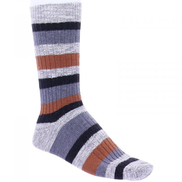 Birkenstock Herren Socken - Slub Stripes - Auburn - Grau/Braun/Hellgrau