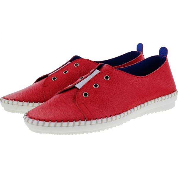 Brako / Modell: Traveller / Rojo-Rot Leder / Wechselfußbett / Art: 1712 / Damen Slipper