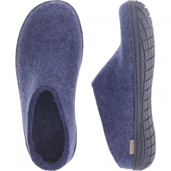 "Glerups / Modell: ""BR"" / Denim-Blau Wollfilz / Schwarze-Sohle / Offene Pantoffeln"