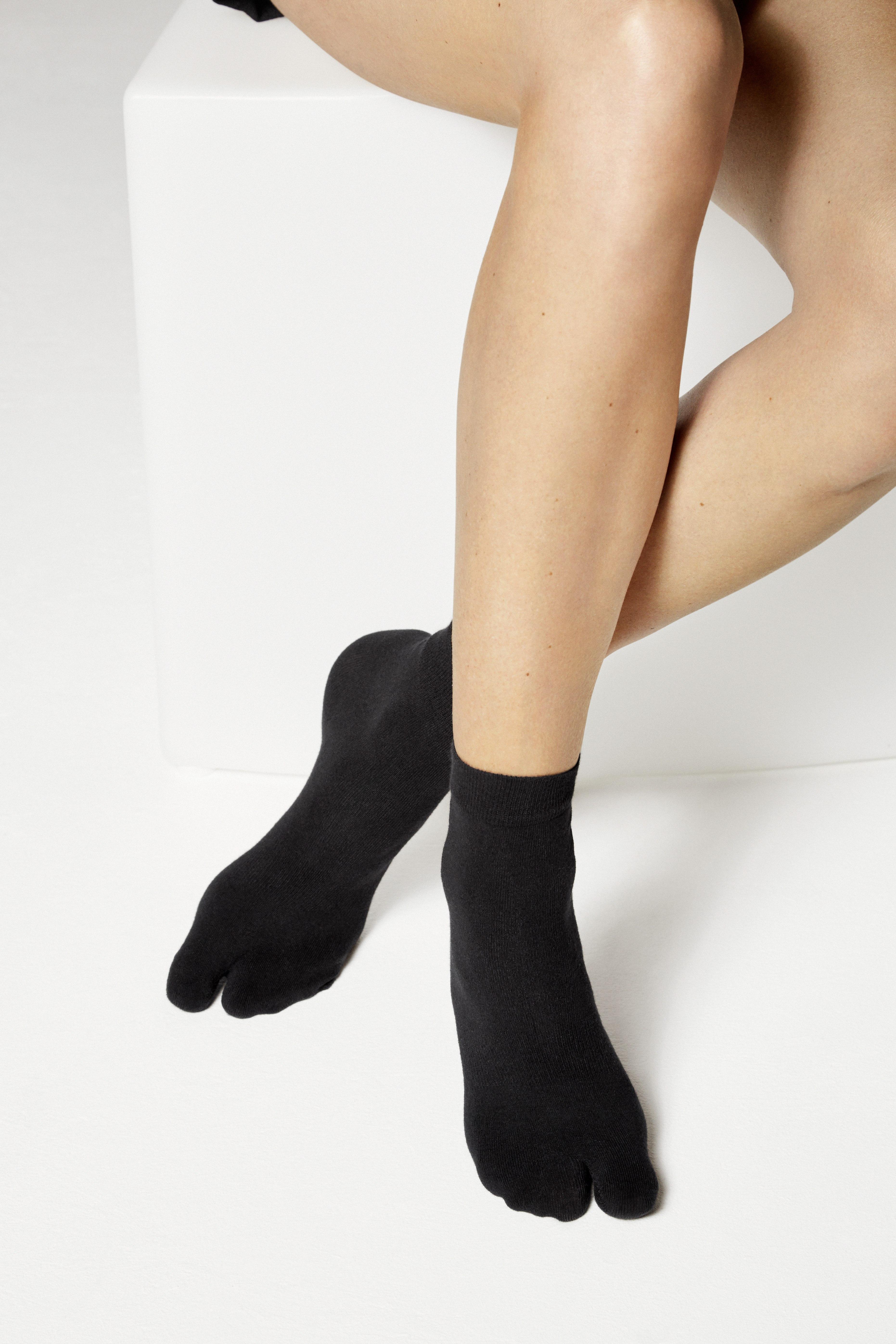Birkenstock Damen Zehentrenner Socken Cotton Sole Split Schwarz