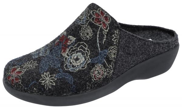 Berkemann / Modell: Glinda / Dunkelgrau Ornament / Form: Arona / Art: 05057-585 / Damen Hausschuhe