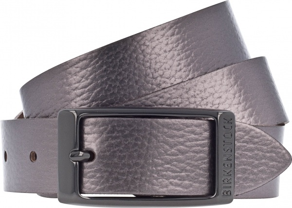 Birkenstock Gürtel / Modell: Illinois Metallic / Breite: 30mm / Platin Leder / Damen Gürtel