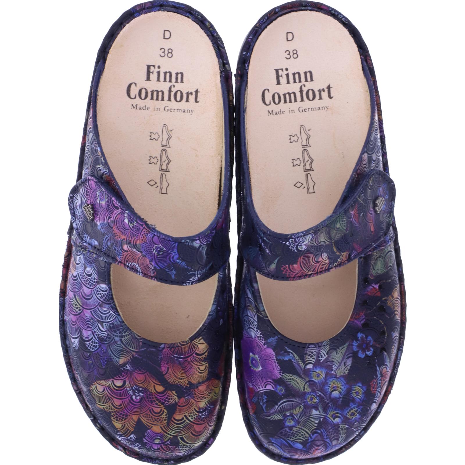 Finn Comfort Stanford Multi Darkblue Wechselfußbett Art: 02552 673048 Damen Clogs