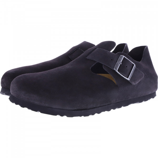 Birkenstock / Modell: London / Gunmetal Grau Velours / Weite: Schmal / Art: 1014967 / Unisex Schuhe