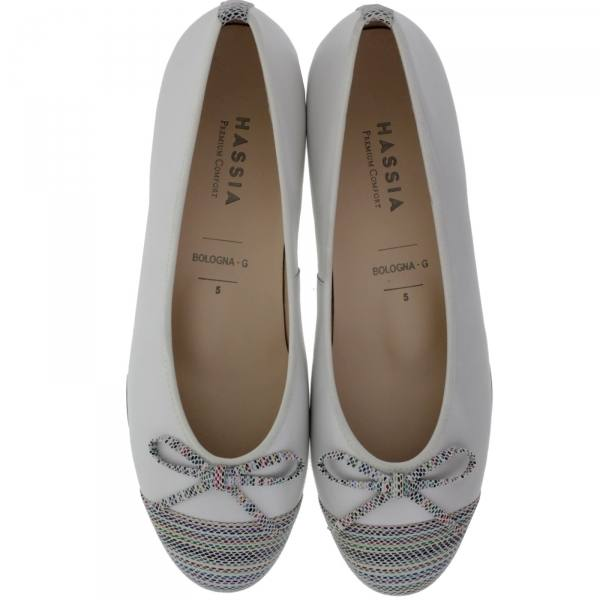 Hassia / Bologna / Perlweiß-Multi Leder / Wechselfußbett / Art: 3-300933-0302 / Damen Ballerinas