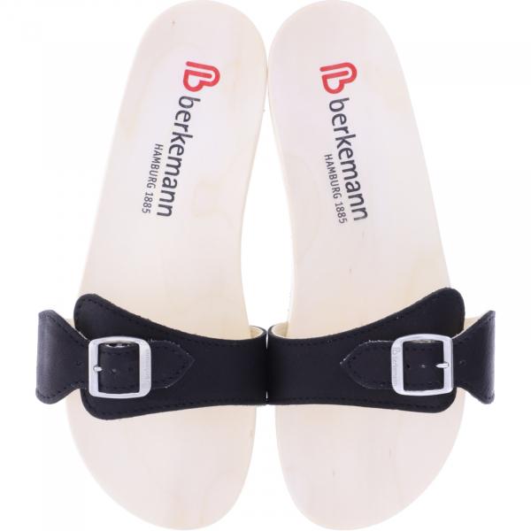 Berkemann / Original-Sandale / B100 / Ecouro Sapoteschwarz Nappa Leder / Art: 00106-555 Holzsandalen