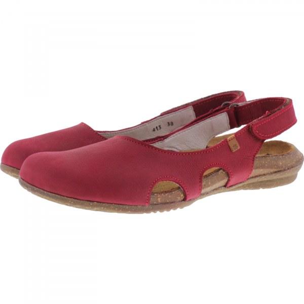 El Naturalista / Modell: N413 Wakataua / Farbe: Pleasent Tibet Rot Leder / Damen Ballerinas