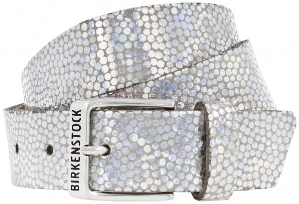 Birkenstock Gürtel / Modell: Milwaukee / Breite: 30mm / Caviar Silver Leder / Damen Gürtel