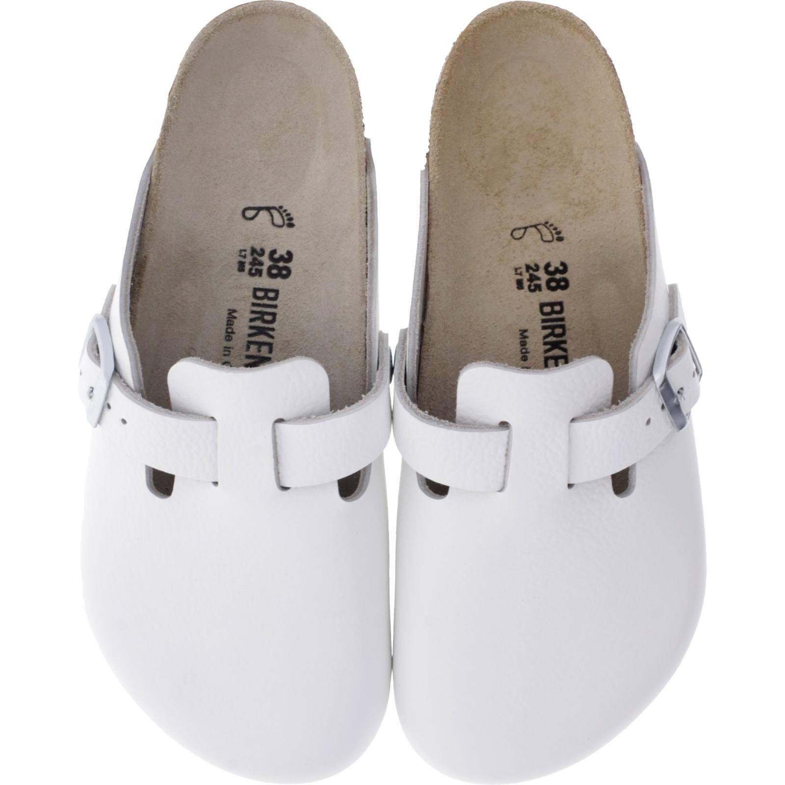 Clogs Weiß Leder WeiteNormal Birkenstock ModellBoston Unisex Art060131 m0vPyNwO8n