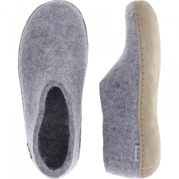"""Glerups / Modell: """"A"""" / Grey-Grau Wollfilz / Kalbsleder-Sohle / Geschlossene Hausschuhe"""
