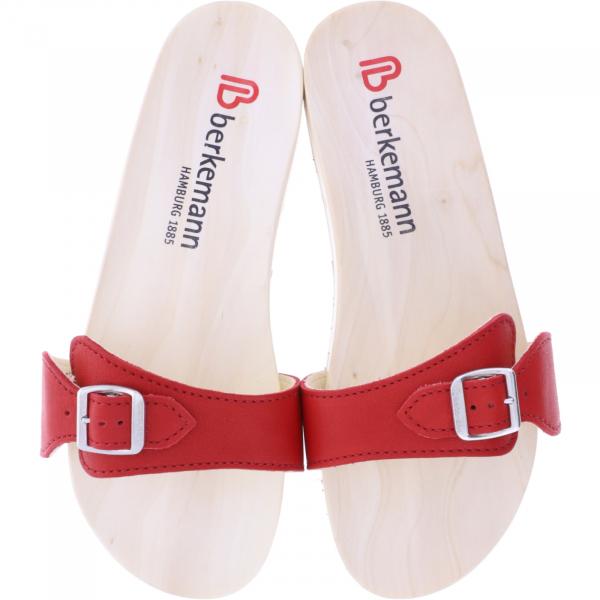 Berkemann / Original-Sandale / B100 / Ecouro Kirschrot Nappa Leder / Art: 00106-552 / Holzsandalen