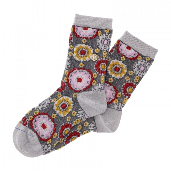 Birkenstock Damen Socken - Cotton Bling Flowers - Hellgrau/Rot