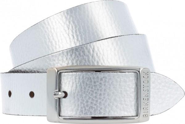 Birkenstock Gürtel / Modell: Illinois Metallic / Breite: 30mm / Silber Leder / Damen Gürtel
