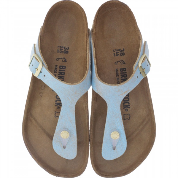 Birkenstock / Modell: Gizeh / Washed Metallic Aqua / Weite: Normal / Art: 1012905 / Zehensteg