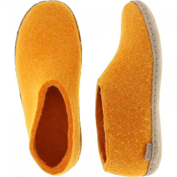 """Glerups / Modell: """"A"""" / Orange Wollfilz / Kalbsleder-Sohle / Geschlossene Hausschuhe"""