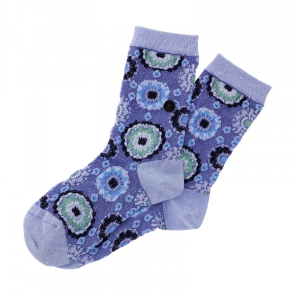 Birkenstock Damen Socken - Cotton Bling Flowers - Skyway (Hellblau)