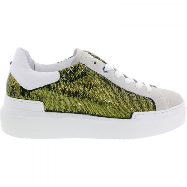 Ed Parrish Sneakers / Modell: Sarah / Cemento-Olivia / Pailletten / Wechselfußbett / Damen Sneakers