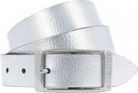 Birkenstock Gürtel / Modell: Illinois Metallic / Breite: 30mm / Silber Leder / Damen Gürtel 80cm