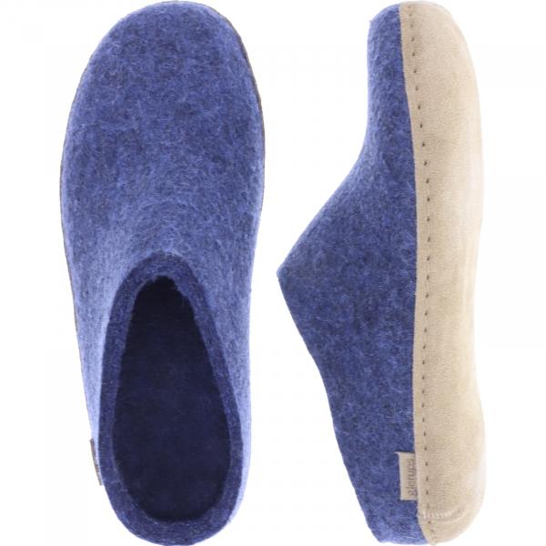 """Glerups / Modell: """"B"""" / Denim/Blau Wollfilz / Kalbsleder-Sohle / Offene Pantoffeln"""