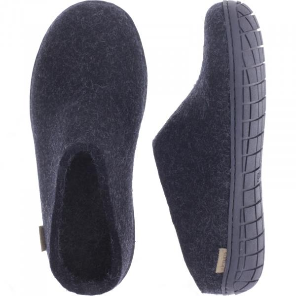 """Glerups / Modell: """"BR"""" / Charcoal-Schwarz Wollfilz / Schwarze-Sohle / Offene Pantoffeln"""