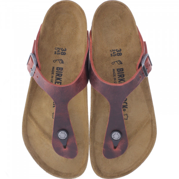 Birkenstock / Modell: Gizeh / Earth Red Leder / Weite: Normal / Art: 1015546 / Zehensteg-Sandalen