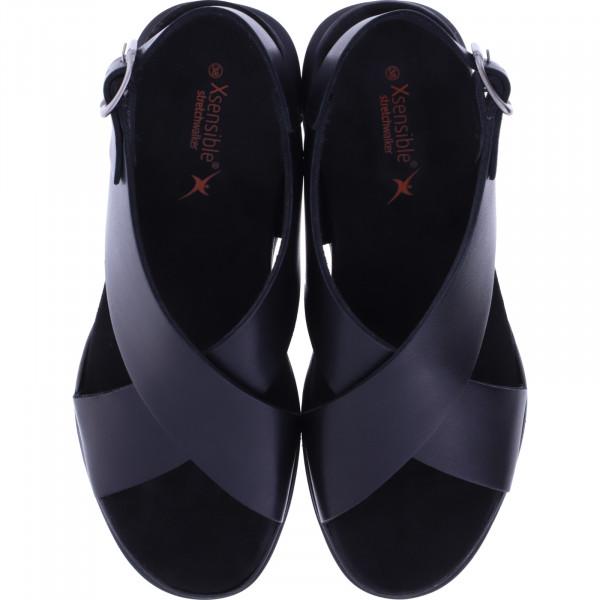 Xsensible Stretchwalker / Modell: Corfu / Schwarz / Leder / Art: 300365-001 / Damen Sandalen