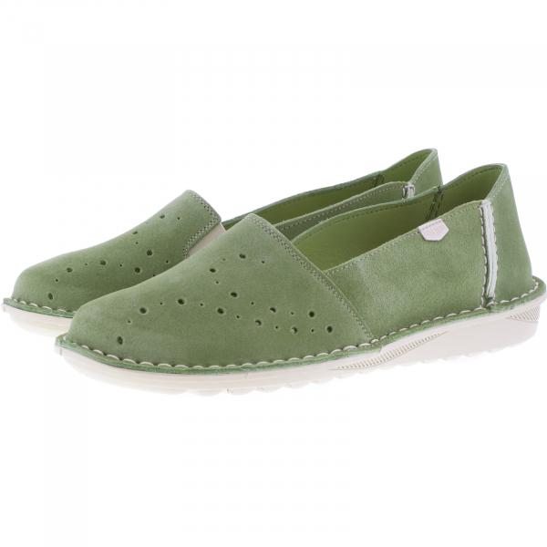 OnFoot / Modell: Camping / Farbe: Verde-Grün Leder / Art.: 20601 / Damen Slipper