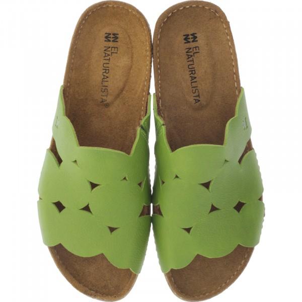 El Naturalista / Modell: N5222 Torcal / Farbe: Soft Grain Lime Grün / Damen Pantoletten