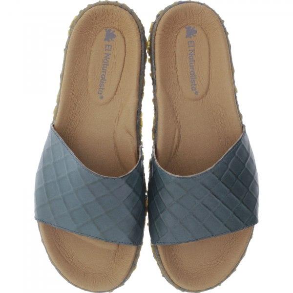 El Naturalista / Modell: N5502 Redes / Farbe: Vaquetilla Plome Blau / Damen Pantoletten