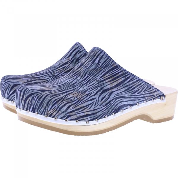 Berkemann / Natur-Toeffler / Brush Stoke Jeans Leder / Art: 00407-356 / Unisex Holzclogs