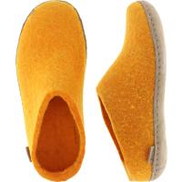 """Glerups / Modell: """"B"""" / Orange Wollfilz / Kalbsleder-Sohle / Offene Pantoffeln"""