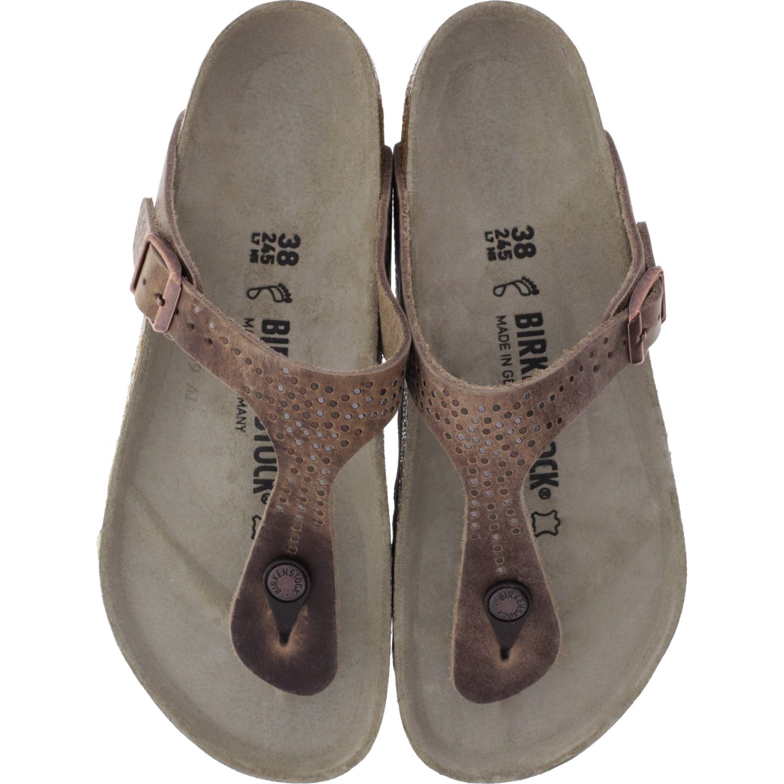 new concept 32b38 d8265 Birkenstock / Modell: Gizeh / Crafted Rivets Tabacco Braun Leder / Weite:  Normal / Art: 1009760