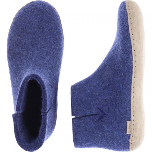 """Glerups / Modell: """"G"""" / Denim/Blau Wollfilz / Kalbsleder-Sohle / Geschlossene Schuhe"""