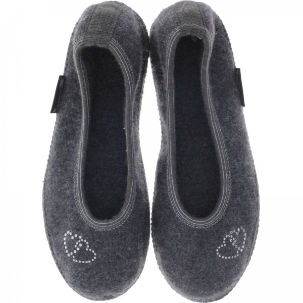 Haflinger / Modell: Mein Herz / Leisten: Slipper / Anthrazit Wollfilz / Art: 623316-04 / Damen