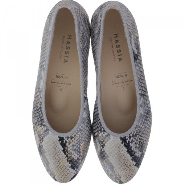 Hassia / Nizza / Grey-Gold Leder / Wechselfußbett / Art: 3-302106-6000 / Damen Ballerinas