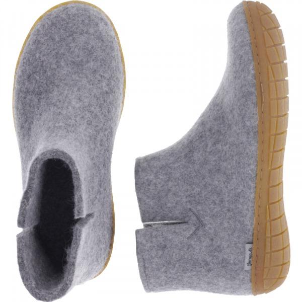 """Glerups / Modell: """"GR"""" / Grey-Grau Wollfilz / Naturkautschuk-Sohle / Geschlossene Schuhe"""