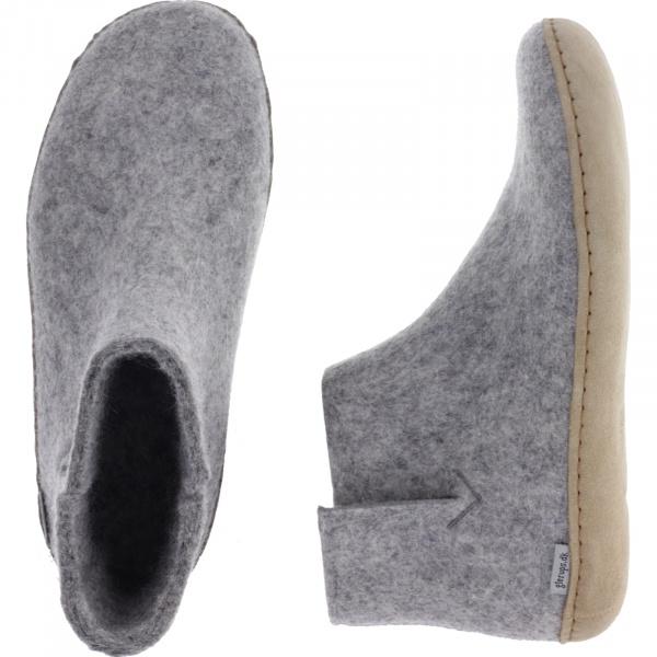 "Glerups / Modell: ""G"" / Grey-Hellgrau Wollfilz / Kalbsleder-Sohle / Geschlossene Schuhe"